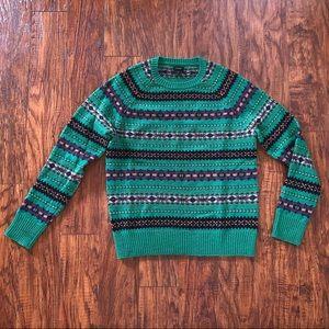 J. Crew Green Fair Isle Sweater